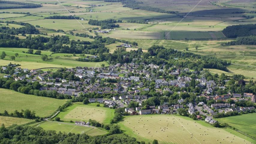 The Scottish village of Kippen, Scotland Aerial Stock Photos | AX110_031.0000000F