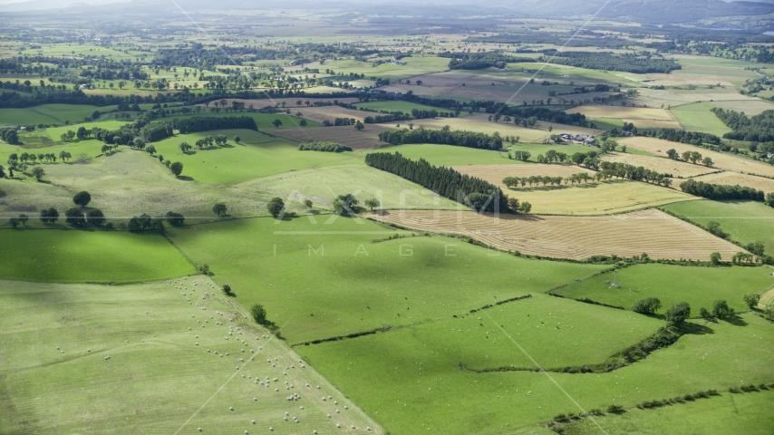 Scottish farms and fields near Kippen, Scotland Aerial Stock Photo AX110_035.0000000F | Axiom Images