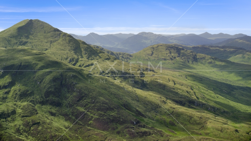 Ben Lomond mountain peak in the Scottish Highlands, Scotland Aerial Stock Photo AX110_047.0000000F | Axiom Images