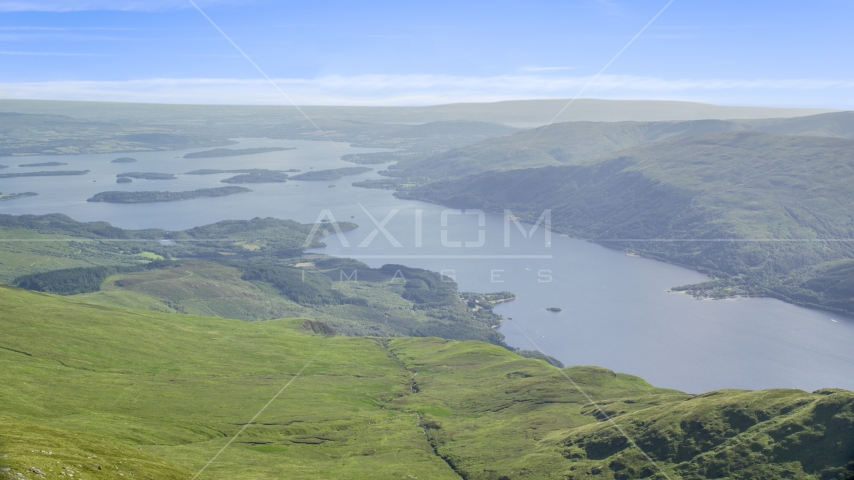 Loch Lomond seen from Ben Lomond, Scottish Highlands, Scotland Aerial Stock Photos | AX110_051.0000189F