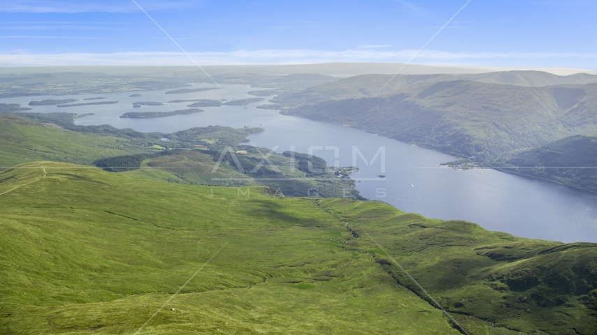 Loch Lomond lake seen from Ben Lomond in Scottish Highlands, Scotland Aerial Stock Photo AX110_055.0000144F | Axiom Images