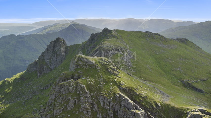 The Cobbler, a green peak in the Scottish Highlands, Scotland Aerial Stock Photos | AX110_077.0000000F
