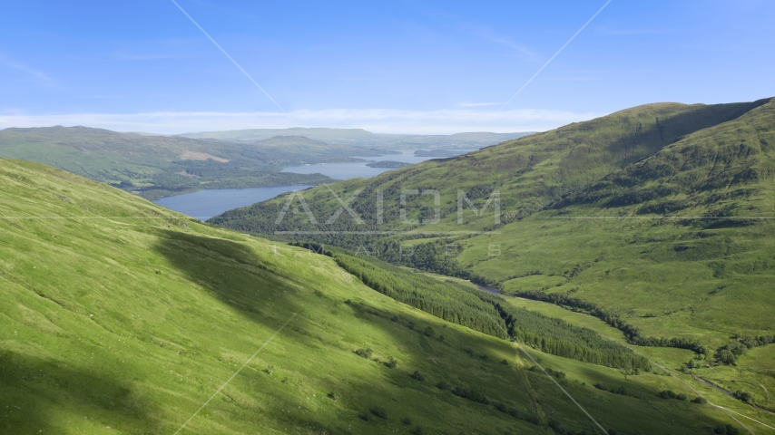 Beinn Dubh with Loch Lomond in the background, Scottish Highlands, Scotland Aerial Stock Photos | AX110_098.0000179F