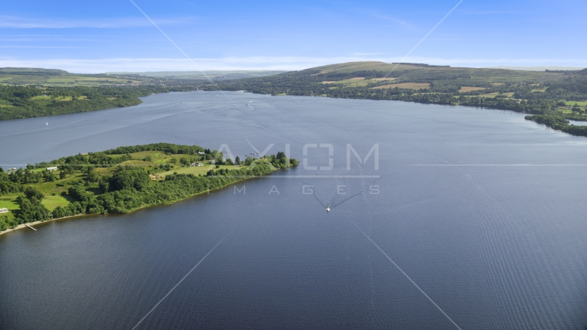 A wide view of Loch Lomond, Scottish Highlands, Scotland Aerial Stock Photos | AX110_122.0000085F