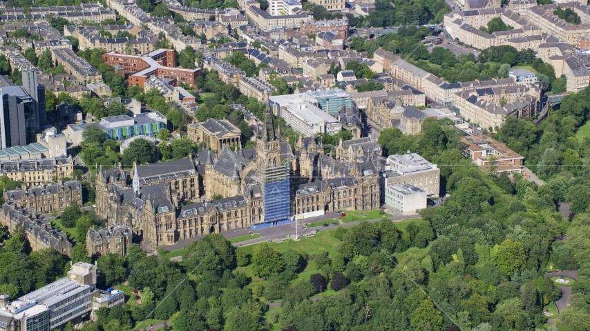 The University of Glasgow, Scotland Aerial Stock Photo AX110_156.0000162F | Axiom Images