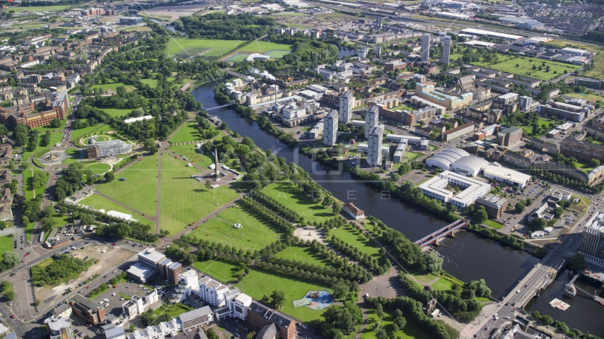 Monument and museum in Glasgow Green park by River Clyde, Scotland Aerial Stock Photo AX110_160.0000232F | Axiom Images