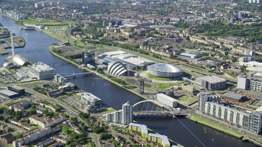 Scotland's National Arena and Clyde Auditorium beside River Clyde, Glasgow, Scotland Aerial Stock Photo AX110_170.0000185F | Axiom Images