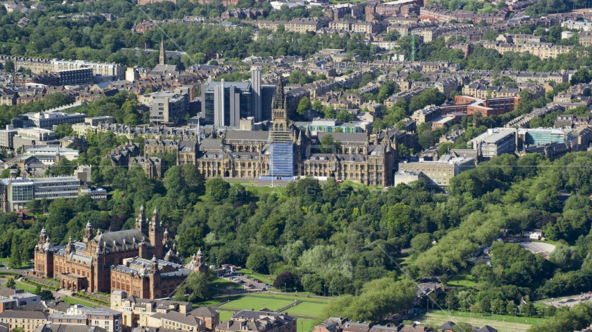 The University of Glasgow and Kelvingrove Art Gallery and Museum, Scotland Aerial Stock Photos | AX110_173.0000000F