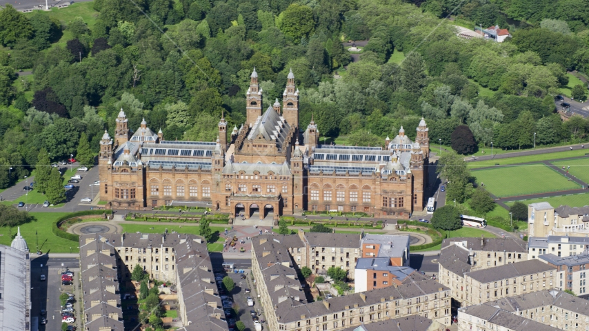 The Kelvingrove Art Gallery and Museum, Glasgow, Scotland Aerial Stock Photos | AX110_176.0000000F
