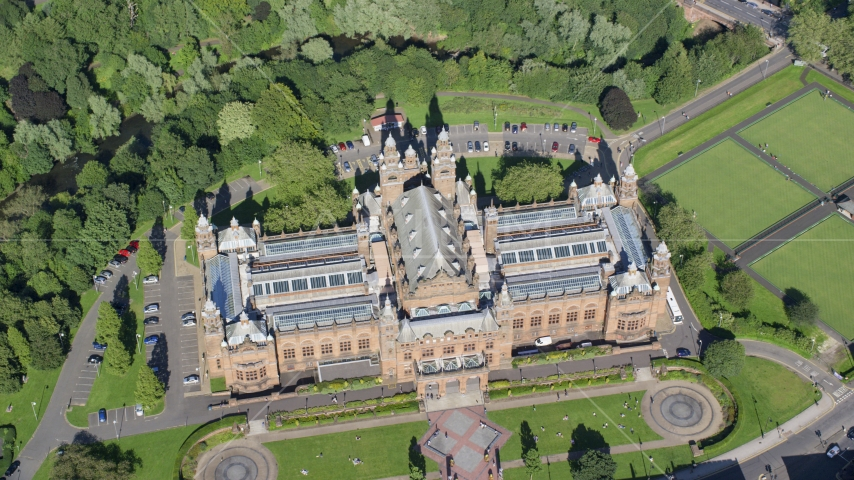 A bird's eye view of Kelvingrove Art Gallery and Museum, Glasgow, Scotland Aerial Stock Photos | AX110_178.0000224F