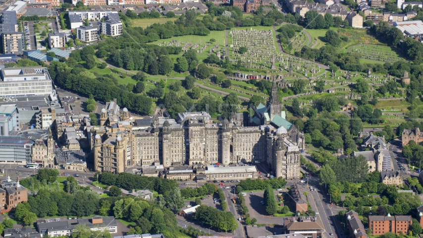 The Glasgow Royal Infirmary hospital in Scotland Aerial Stock Photo AX110_183.0000037F | Axiom Images