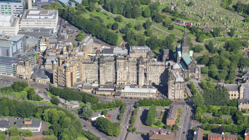 A view of the Glasgow Royal Infirmary hospital in Scotland Aerial Stock Photo AX110_184.0000000F | Axiom Images