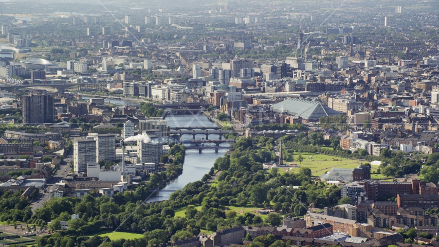 A city view with the River Clyde, Glasgow, Scotland Aerial Stock Photos | AX110_190.0000032F