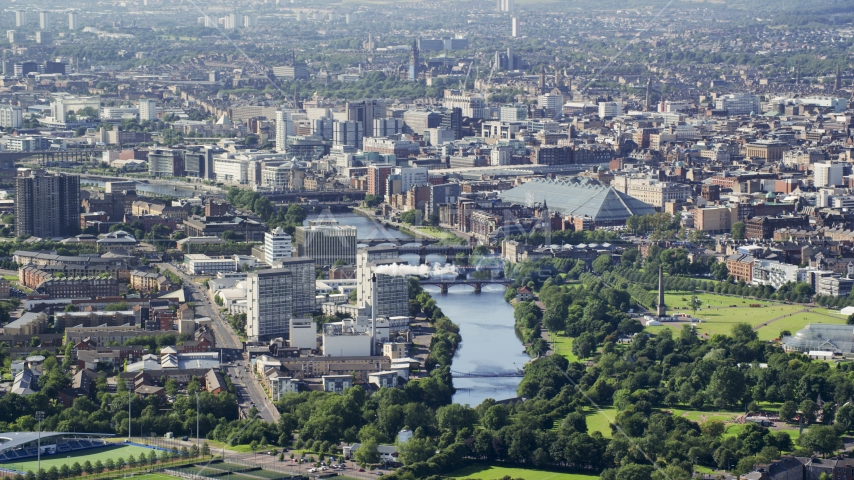 The River Clyde flowing through Glasgow, Scotland Aerial Stock Photos | AX110_191.0000000F