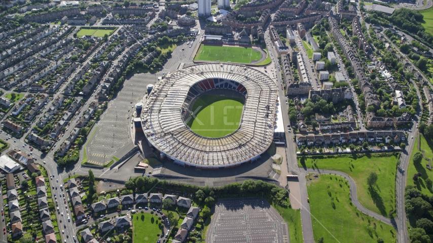 The Hampden Park soccer stadium in Glasgow, Scotland Aerial Stock Photo AX110_194.0000000F | Axiom Images