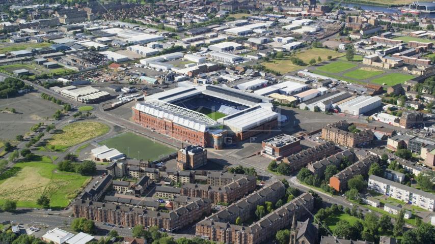 Ibrox Stadium soccer field in Glasgow, Scotland Aerial Stock Photo AX110_201.0000000F | Axiom Images