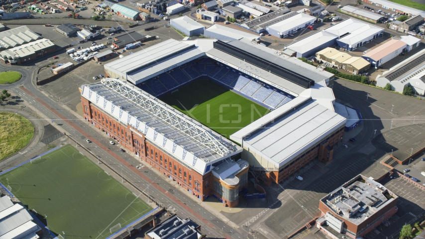 A view of the soccer field in Ibrox Stadium, Glasgow, Scotland Aerial Stock Photo AX110_201.0000207F | Axiom Images