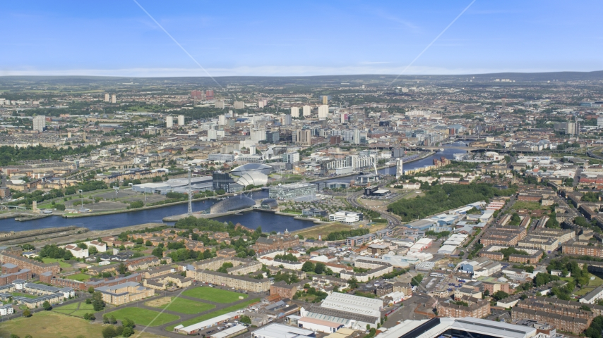 The River Clyde and the city of Glasgow, Scotland Aerial Stock Photo AX110_202.0000000F | Axiom Images
