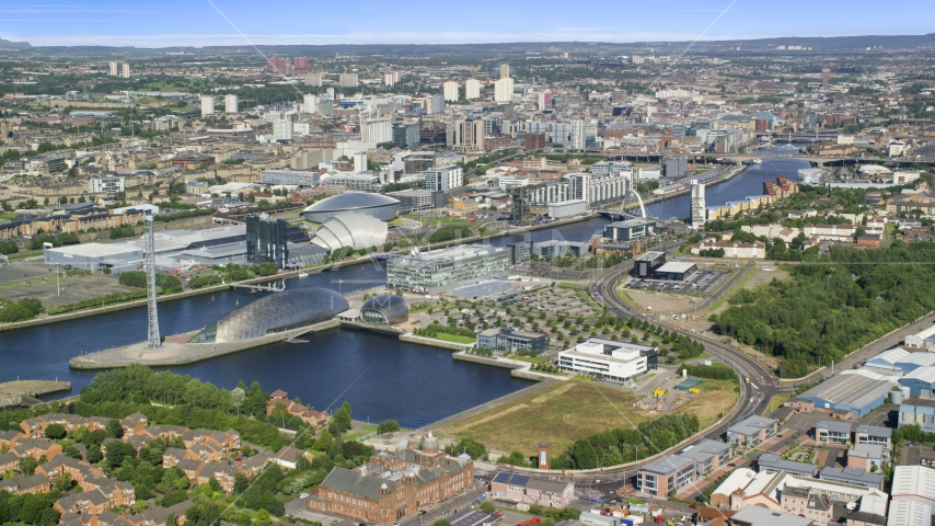 The River Clyde, arena and concert hall in Glasgow, Scotland Aerial Stock Photo AX110_204.0000273F | Axiom Images