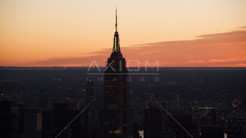Sunrise at the Empire State Building in Midtown Manhattan, New York City Aerial Stock Photos AX118_010.0000332F | Axiom Images