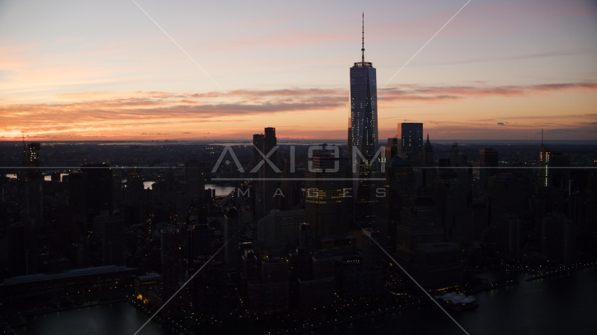 The World Trade Center at sunrise in Lower Manhattan, New York City Aerial Stock Photos | AX118_016.0000119F