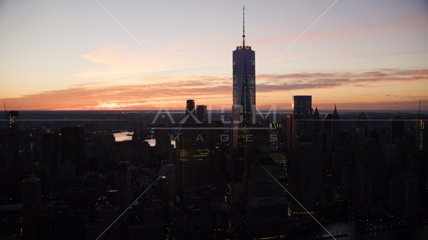 One World Trade Center at sunrise in Lower Manhattan, New York City Aerial Stock Photos | AX118_017.0000077F