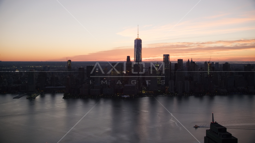 World Trade Center skyline at sunrise in Lower Manhattan, New York City Aerial Stock Photos | AX118_024.0000127F