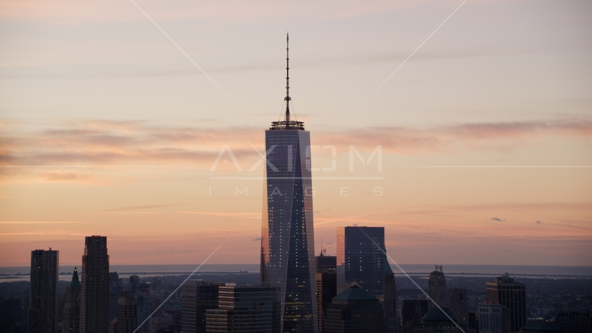 One World Trade Center at sunrise in Lower Manhattan, New York City Aerial Stock Photos | AX118_028.0000000F