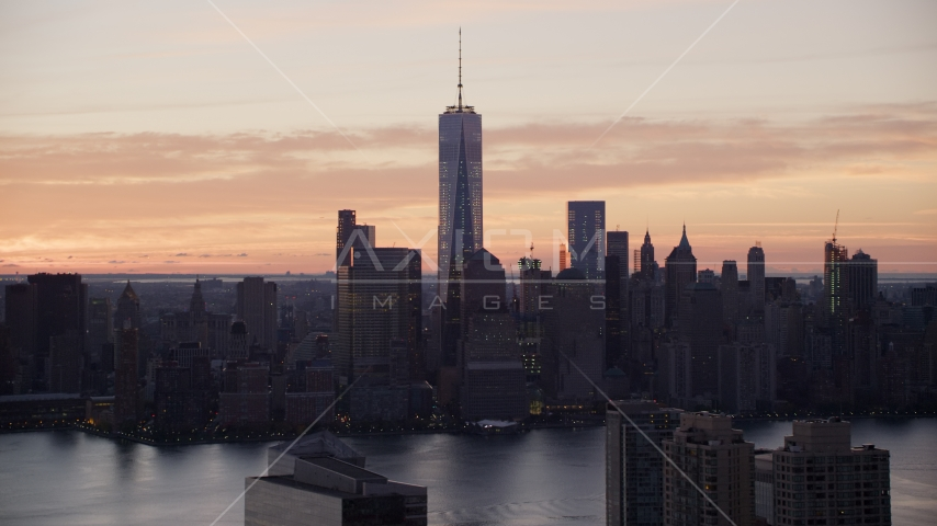 World Trade Center Skyline at sunrise in Lower Manhattan, New York City Aerial Stock Photos | AX118_030.0000235F