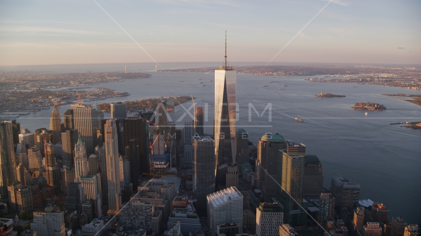 Freedom Tower at sunrise in Lower Manhattan, New York City Aerial Stock Photos | AX118_096.0000000F