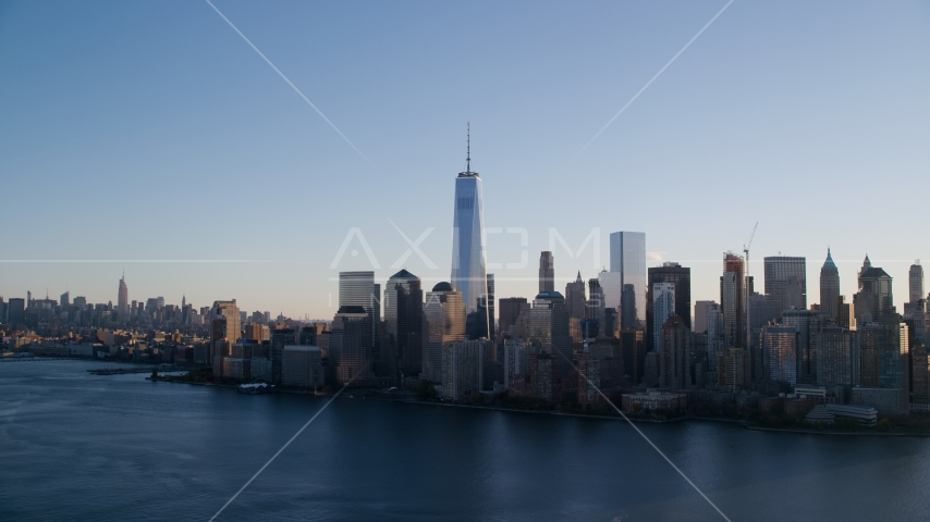 Freedom Tower and the World Trade Center skyline at sunrise in New York City Aerial Stock Photo AX118_152.0000093F | Axiom Images