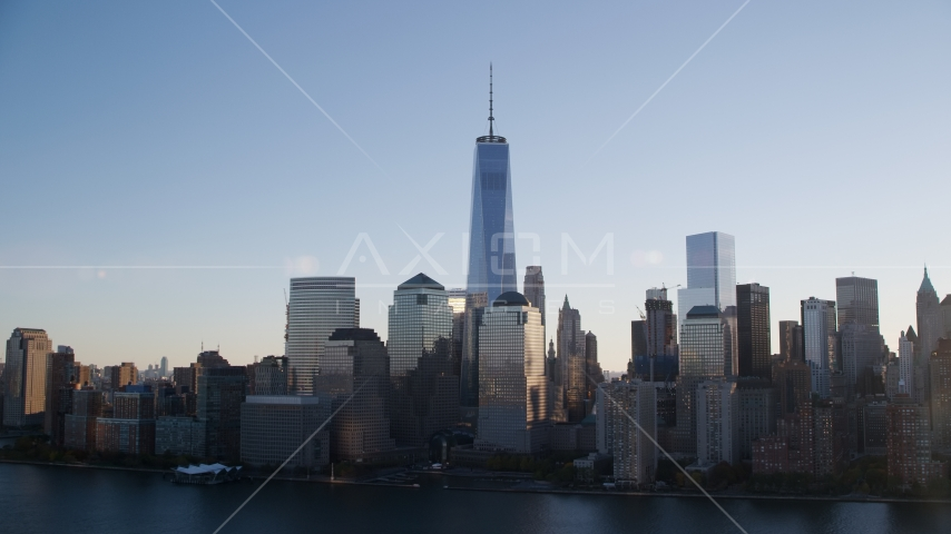 The World Trade Center skyline at sunrise in New York City Aerial Stock Photos | AX118_154.0000043F