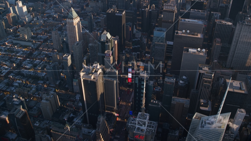 Times Square at sunrise in Midtown Manhattan, New York City Aerial Stock Photos | AX118_184.0000138F