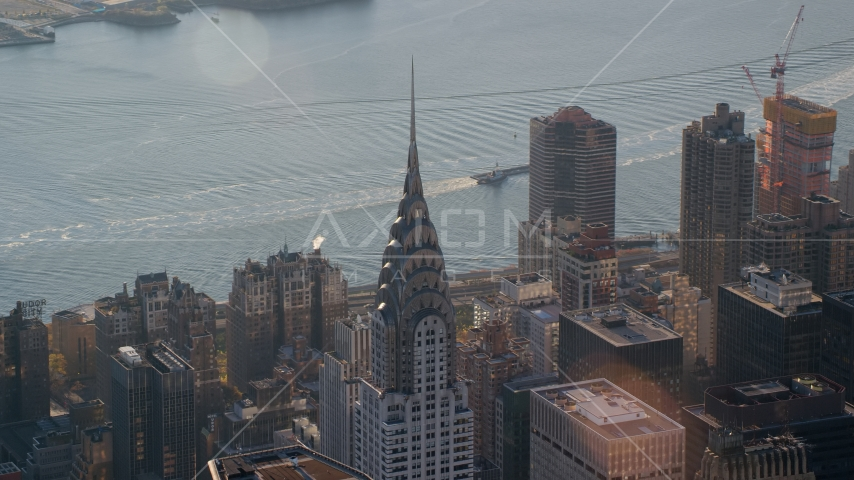 The Chrysler Building at sunrise in New York City Aerial Stock Photos | AX118_202.0000118F