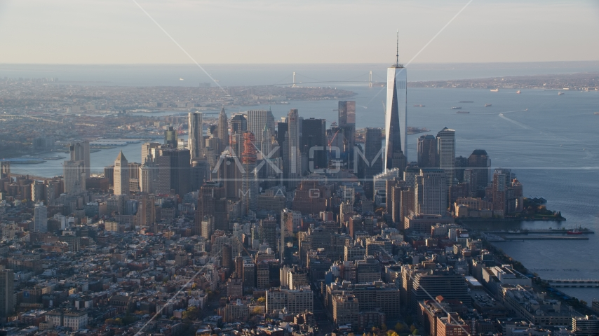 Freedom Tower and Lower Manhattan at sunrise in New York City Aerial Stock Photos | AX118_206.0000000F
