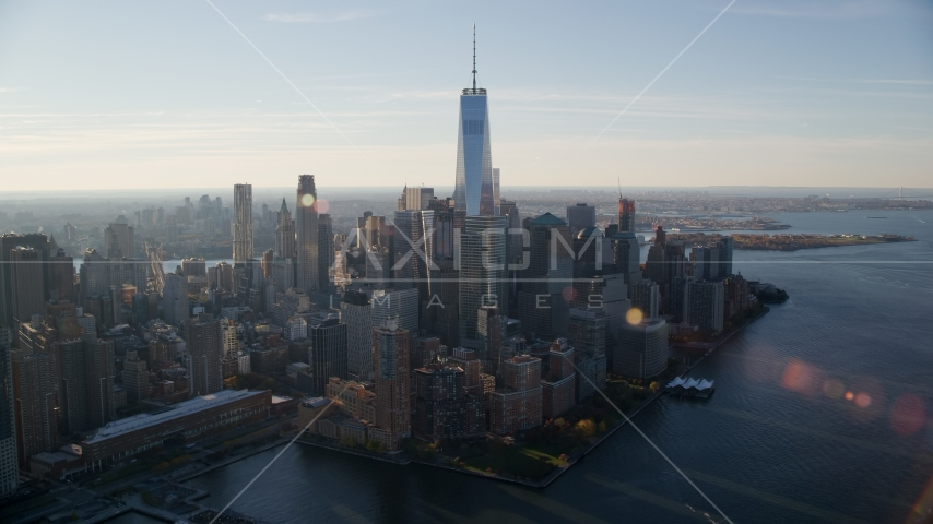 World Trade Center buildings at sunrise in Lower Manhattan, New York City Aerial Stock Photos | AX118_213.0000092F