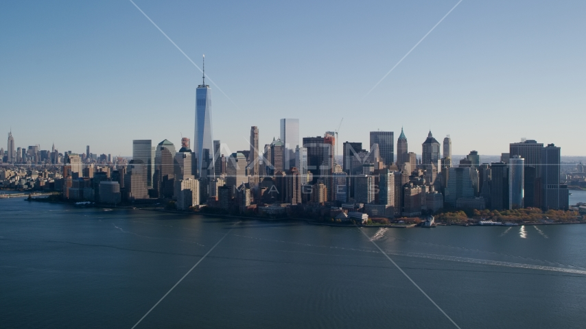 Skyline of Lower Manhattan across the Hudson River in New York City Aerial Stock Photos | AX119_014.0000094F