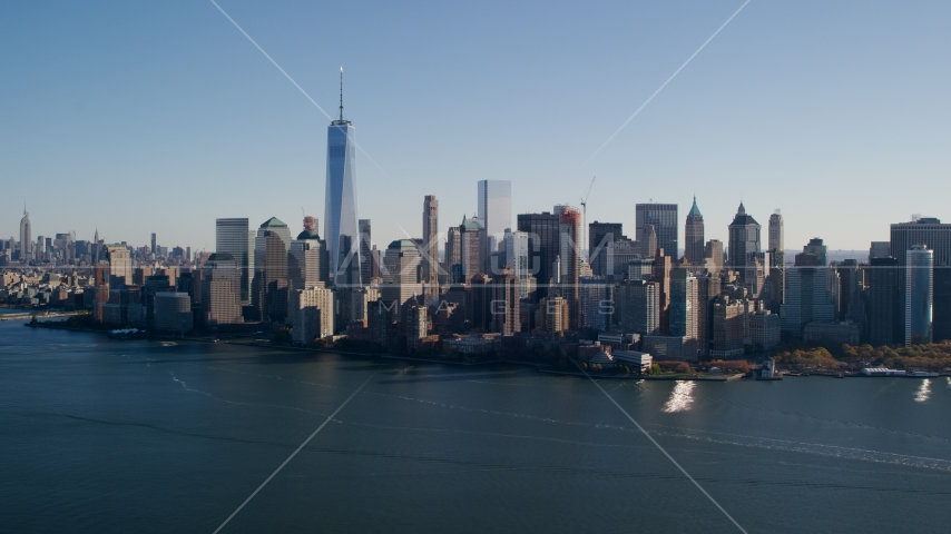 The Lower Manhattan skyline in New York City Aerial Stock Photos | AX119_014.0000244F