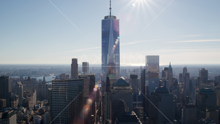 One World Trade Center in Lower Manhattan, New York City Aerial Stock Photos AX119_019.0000087F | Axiom Images