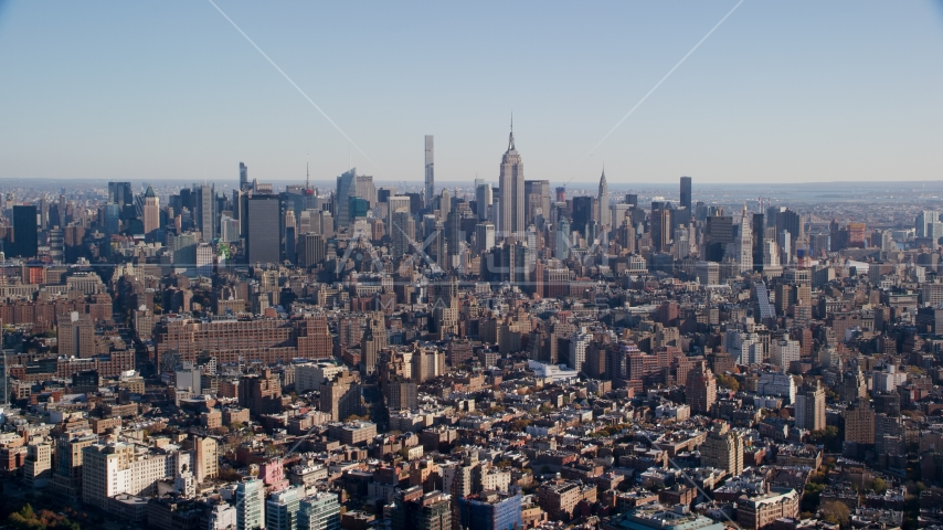 Skyscrapers in Midtown Manhattan, New York City Aerial Stock Photos | AX119_020.0000092F