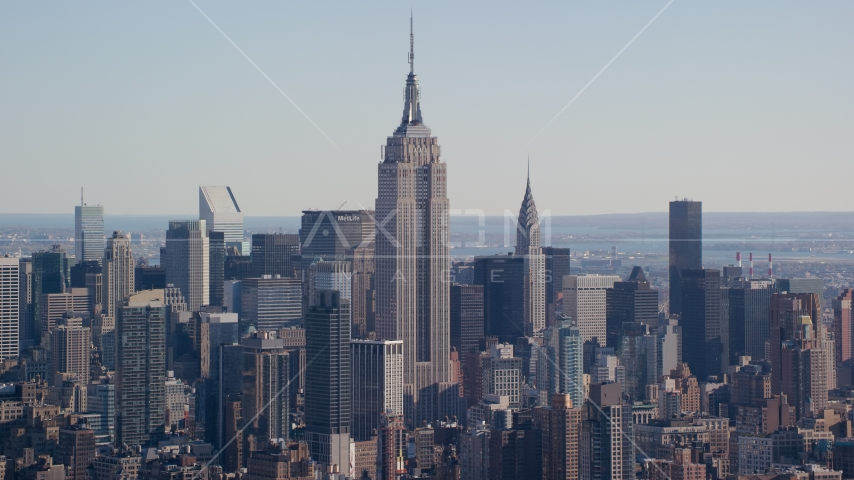 The Empire State Building in Midtown Manhattan, New York City Aerial Stock Photos | AX119_022.0000072F