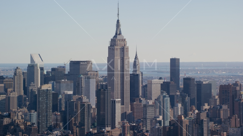 Empire State Building skyscraper in Midtown, New York City Aerial Stock Photos | AX119_023.0000000F