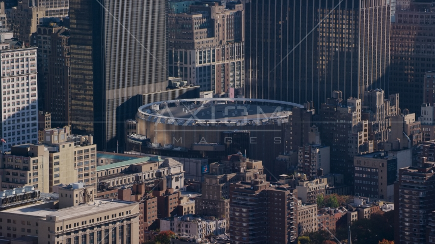 Madison Square Garden arena in Midtown Manhattan, New York City Aerial Stock Photos AX119_025.0000126F | Axiom Images