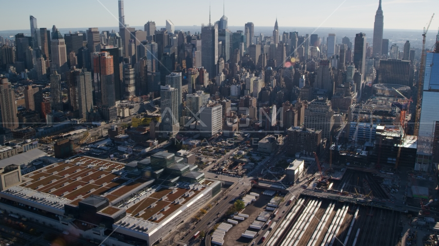 Convention Center and West Side Yard in Hell's Kitchen, Midtown, New York City Aerial Stock Photos | AX119_027.0000083F