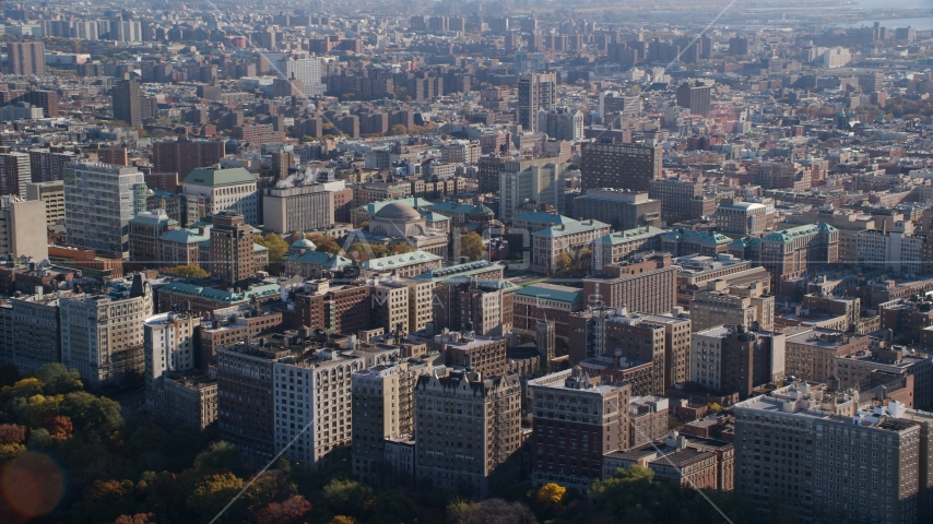 Columbia University in Autumn, Morningside Heights, New York City Aerial Stock Photos | AX119_038.0000065F
