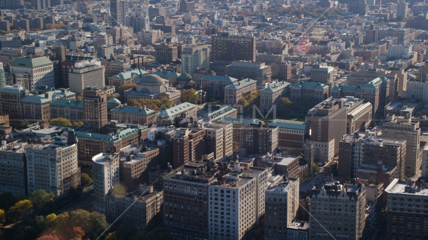 The Columbia University campus in Autumn, Morningside Heights, New York City Aerial Stock Photos AX119_038.0000224F | Axiom Images