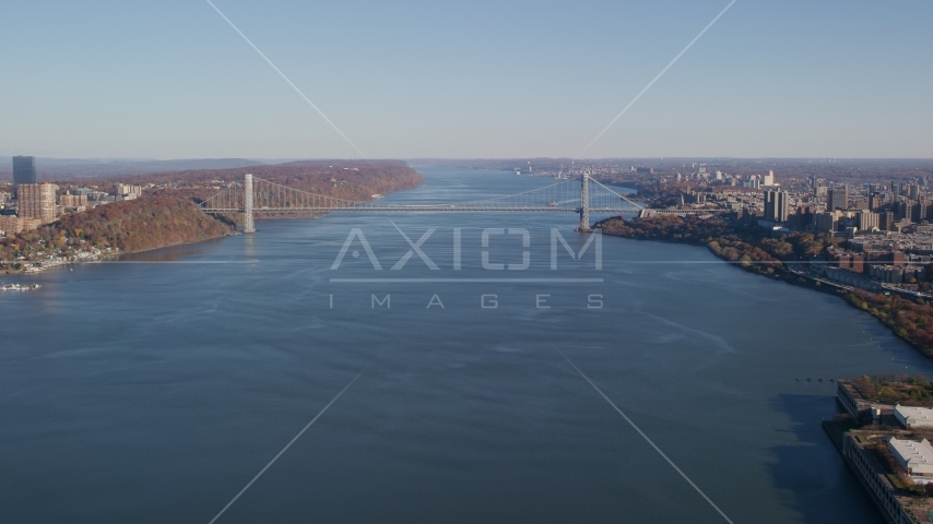 George Washington Bridge spanning the Hudson River in Autumn, New York City Aerial Stock Photos | AX119_040.0000092F