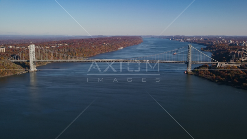 The George Washington Bridge in Autumn, New York City Aerial Stock Photo AX119_043.0000000F | Axiom Images