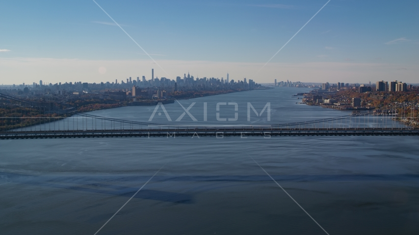 George Washington Bridge, Hudson River, and the Midtown skyline in Autumn, New York City Aerial Stock Photos | AX119_047.0000192F