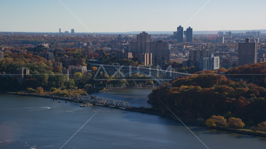 Henry Hudson and Spuyten Duyvil Bridges in Autumn, The Bronx, New York City Aerial Stock Photos | AX119_054.0000179F